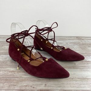 Halogen Owen pointy toe lace up suede flats